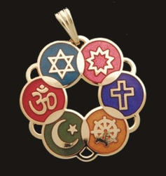 Large Interfaith Pendant (Gold-plated or Multicolor)