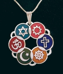 Large Interfaith Pendant (Silver-plated or Multicolor)