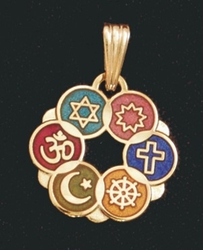 Small Interfaith Pendant (Gold-plated or Multicolor)